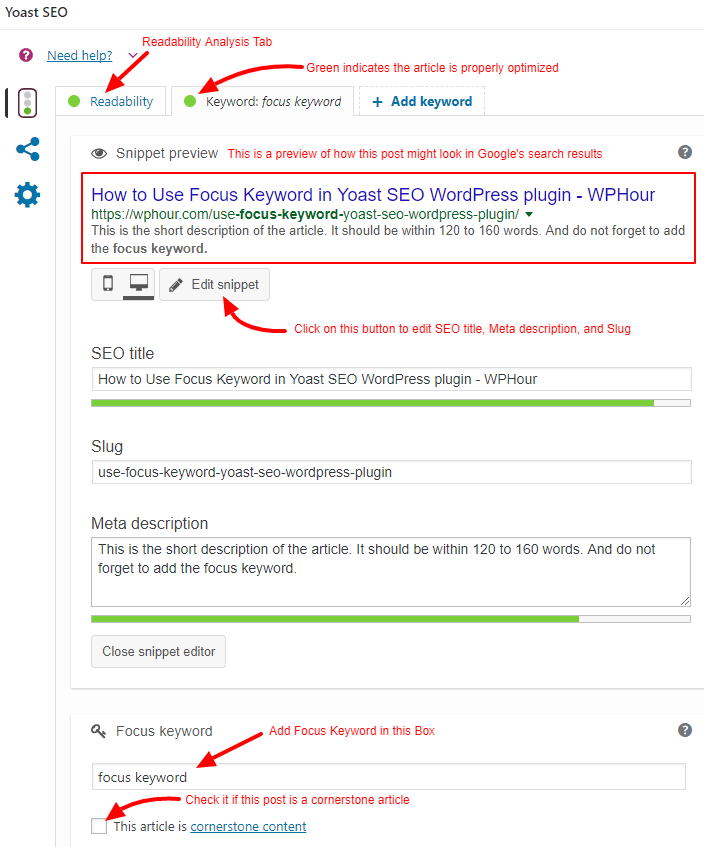 Focus Keyword and Snippet Preview