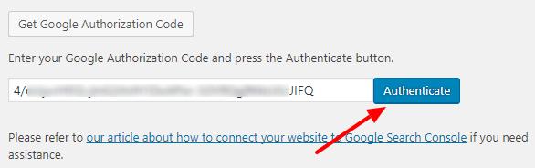 Search Console - Yoast SEO Authentication