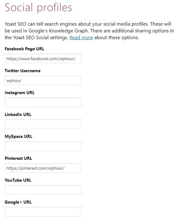 Configuration Wizard - Social Profiles