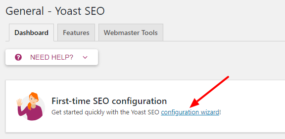 Open Configuration Wizard Yoast SEO