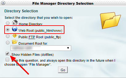 cPanel file manager popup