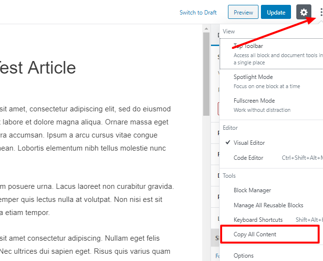copy all content option in wordpress