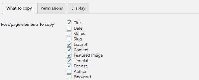 Duplicate post plugin settings