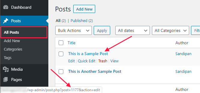 find wordpress post id
