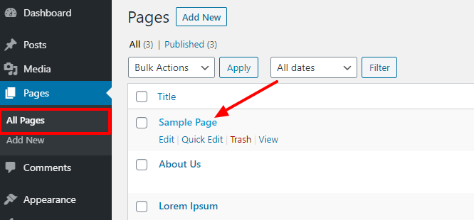 hover cursor over page title
