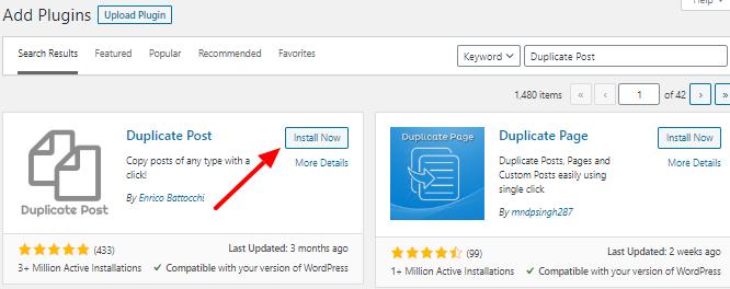 Install duplicate post WordPress plugin