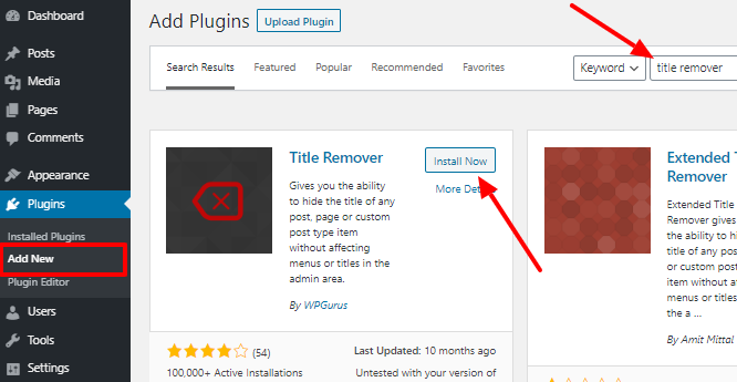 install title remover plugin