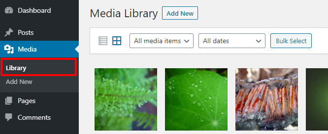 open media library to get image id