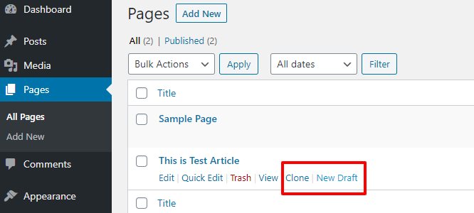option to clone pages
