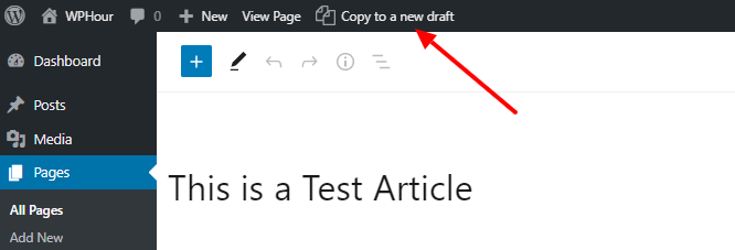 copy to a new draft option