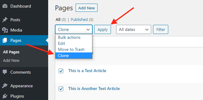 Duplicate WordPress page in bulk