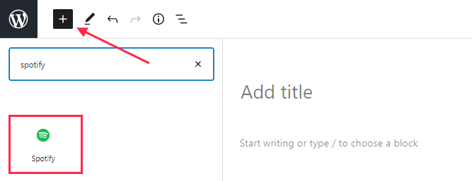 add spotify block to WordPress page