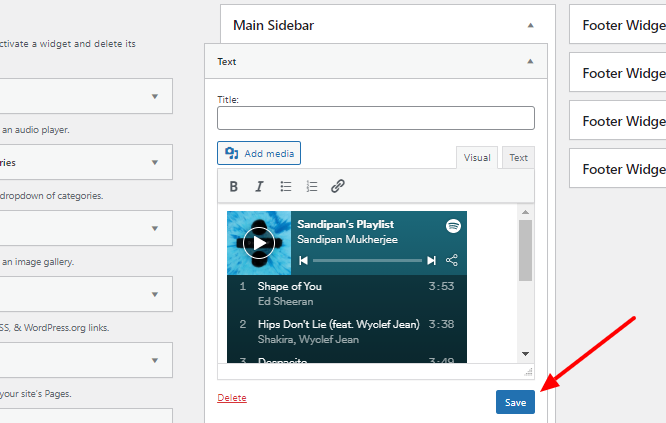 add spotify playlist to text widget